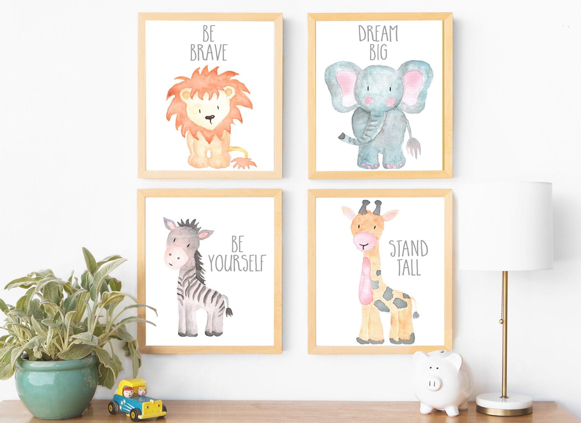 Safari nursery decor safari nursery wall art print set of 4 zoom amipublicfo Gallery