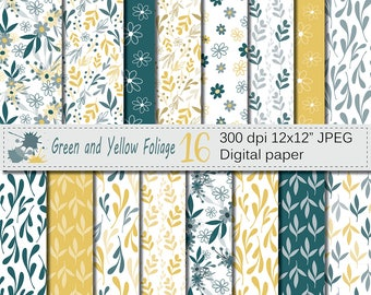 Seamless Green and Yellow Hand Drawn Flowers and Leaves Digital Paper, Foliage Seamless Pattern, Scrapbooking Papers