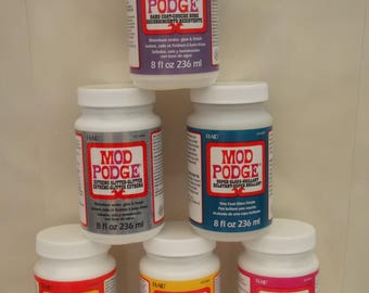 Mod Podge By Plaid 8oz Gloss, Matte, Sparke, Hard Coat, Extreme Glitter, Super Gloss, Adhesive, Glue, Varnish, Sealant, Finish