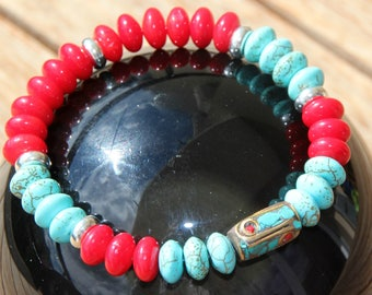 Bracelet with red coral and dyed howlite