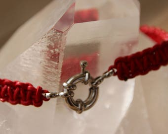 buoy red clasp leather bracelet
