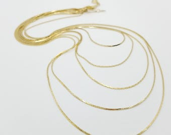 """Vintage 5 strand Gold Tone Chain Necklace - 26"""""""