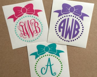 Bow Monogram Decal | Vine Monogram | Circle Monogram | Single Initial | Bow Decal | Dot Decal | Monogram Sticker | Car Decal | Laptop Decal
