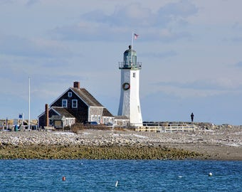 December, long view of Scituate Light with wreath, South Shore, lighthouse, Boston, nautical, coastal, beach decor, archival signed print