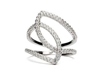 Lady sparkle • intertwined ring • cubic zirconia silver
