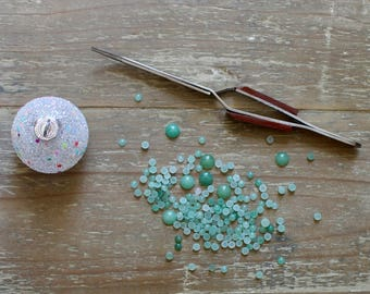 24 Cabochon Bundle of 4mm Round Cabochons, 8 each of White Moonstone, Green Aventurine and Blue Lace Agate.