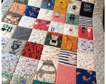 Keepsake Quilt, Memory Quilt, Keepsake Blanket, Patchwork Quilt 135x190cm, Memory Quilt, Baby Clothes Quilt, Memory Blanket