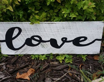"Love Rustic Sign 16"" Long Farmhouse Sign Fixer Upper Magnolia Market Style"