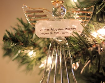 Personalized Hand Blown Glass Angel Ornament