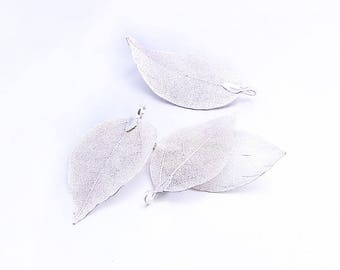 925 Silver Plated Natural Leaf Unique Leaves Pendant Hollow Natural Tree Leaf Real Leaf Metal Plated Filigree Leaf Charm