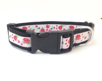 Dog collar 'pink flowers'