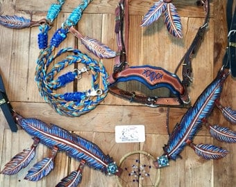 Dream catcher horse tack barrel leather headstall feathers breastcollar side-pull 3 in one