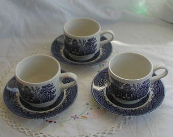 Churchill Blue and White Willow Design Cups and Saucers Set of Three