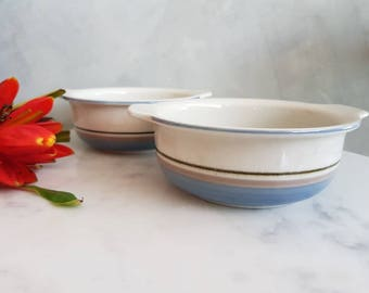 "Set of Two Vintage Arabia Finland Bowls ""Uhtua"" pattern designed by Inkeri Leivo. 1960s"