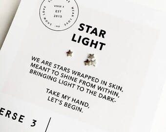 Summer Sale Sterling Silver Star Earrings/ Star Posts/ Asymmetrical Earrings/ Star Studs/ Simple Star Earrings/ Inspirational Jewelry/ Wish