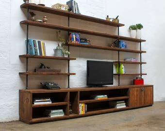 Hector Reclaimed Chestnut Stained Scaffolding Board and Steel Pipe Shelving Unit with Cupboard - bespoke furniture by www.urbangrain.co.uk