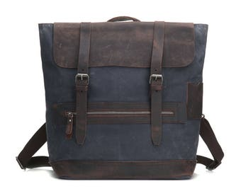 Campground Leather Canvas Backpack - Grey, waxed leather, water resistant, vintage style