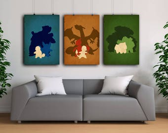 Pokemon poster,Pokemons,Bulbasaur , Charmander, Squirtle  Poster Set, Wall art, Gamer gift