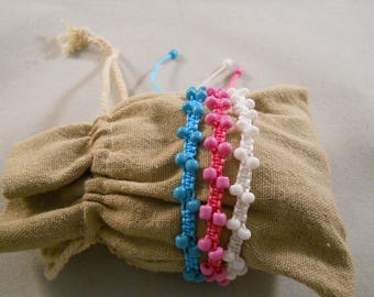 """Bollywood Beaded Macrame Bracelets Set Of Three Pink White And Aqua 6 1/2"""" - 9 1/2"""" Sliding Macrame Closure Adjustable Chinese Knotting Cord"""