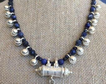 Handmadee Sapphire, Sodalite and Lapis necklace with Sterling Silver bells & Kavach Pendant, that opens up to lock in anything you desirer!