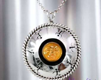 ON SALE Ready to Ship - Carved Moonstone Face Shadowbox Pendant and Chain in Sterling - Silver Statement Moonstone Necklace - Dancing Shadow