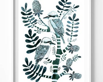 Petrol Kookaburras & Banksia. Limited Edition Signed Giclée Print. Australian Birds, Green, Botanical, Tree, Native, Feathers, Nature