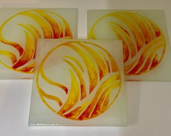 Fire Element Coasters ( Pack of 4)  Hand Painted Recycled Glass