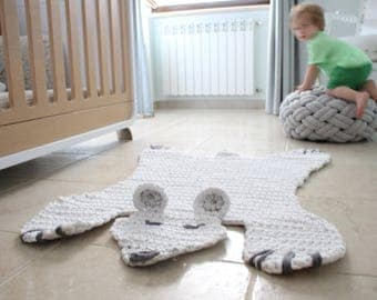Crochet Bear Pattern, Bear Baby Room, Crochet Rug Pattern, Crochet Animal Rug, Woodland Crochet, Hygge Home Decor, Gift, Animal Rug Pattern