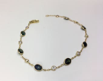 14kt Yellow Gold Natural Sapphire Open Link Bracelet, Appraised 1,353 USD
