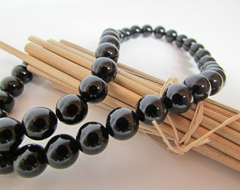 Black onyx agate bead, agate black onyx bead 10 mm, 8 mm gem stone, 6 mm, 4 mm