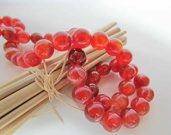 Pearl agate onyx, red agate, Orange, 10 mm, 8 mm, 6 mm - 335