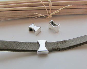 5 pearls going for cord 6 x 2.5 mm - silver - 65.19