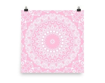 Pink and White Mandala Art, Decorative Pink Wall Art, Abstract Pink Wall Decor, Mandala Poster Prints