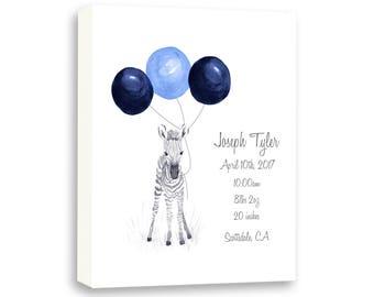 Zebra Watercolor Canvas, Baby birth Stat, Safari Animals For Nursery, Baby Gift Ideas Z1001C