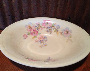 """Vintage, Edwin M. Knowles Semi-Vitreous 10.5"""" Serving Bowl C. 1939, Made in the U.S.A."""