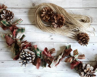 christmas garland rag garland pine cone garland hand tied garland primative rag