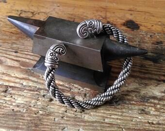 Viking bracelet raven head valravn sterling silver brass bronze
