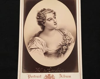 Cabinet Card of Marie-Madeleine - Marquise of Parabère, 19th Century Antique Photograph, Jacotin Portrait Album