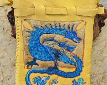 Blue and Gold Medieval Illuminated Dragon Large Leather Pouch