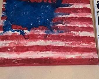 Splattered U.S flag