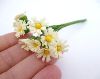"""Small daisies White Flowers_ PA65400258/60524_ Flowers_ daisies of 10/12 mm / 0,47""""_ corsage of 10 flowers"""