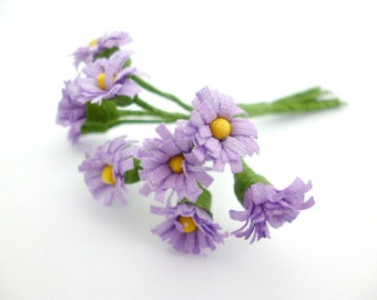 "Small daisies Lilac Flowers_ PA65400258/00524_ Flowers_ daisies of 10/12 mm / 0,47""_ corsage of 10 flowers"