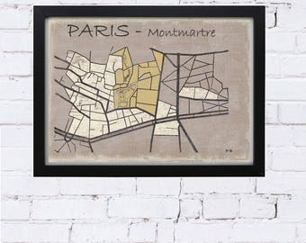 vintage, paris, paris map poster map poster paris deco lounge, office decor, gift, city map, montmartre paris, Sacré coeur poster
