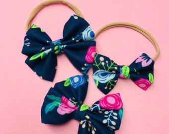 Navy Floral Bow Headbands & Bow Clips