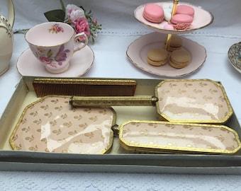 The Prettiest Pink Vintage Dressing Table Set, Vintage Vanity Set in Original Box