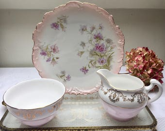 Beautiful and Rare Pink Floral Antique Salad Plate, Perfect