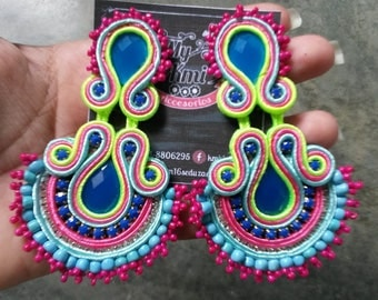 Soutache with mustard seed earrings