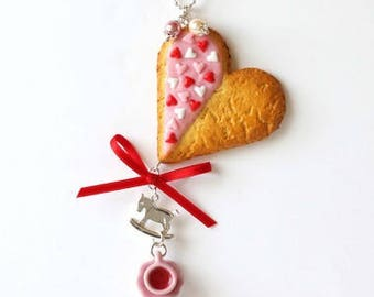 Cookie Cutter and hearts in polymer clay Heart Necklace, handmade polymer clay
