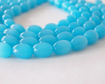 Strand Glass Oval Opaque Beads Blue Aqua Large Hole Bead Size 16mm