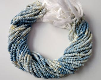 Bundle Of 5 Strands Of Shaded Blue Opal Faceted Rondelles Beads